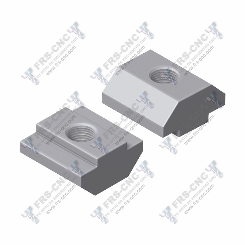 Tuerca rectangular en T, canal 8 mm. (Acero zincado) # T-slot nut, 8 mm. slot (Zinc plated steel)